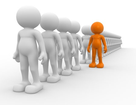 follow the leader: 3d mensen - menselijk karakter - team en leiderschap. Dit is een 3d render illustratie