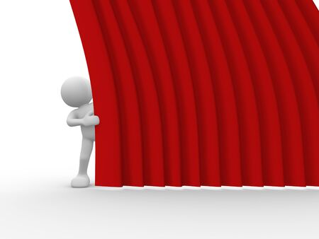 theater man: 3d people - human character and stage curtain. 3d render illustration