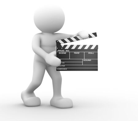 showbusiness: 3d people -human character and a clapperboard. 3d render illustration