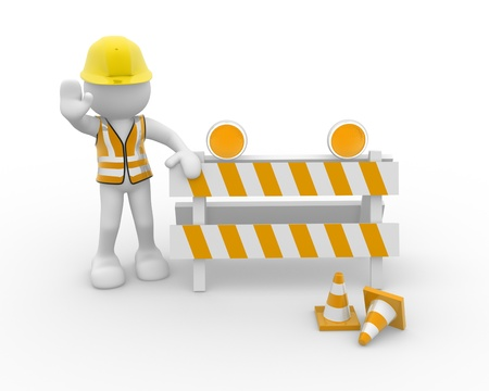 3d people - human character and under construction. 3d render illustration Stock Illustration - 14801964