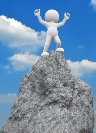 3d people - human character ,  person on  top of the mountain - victorious .  3d render illustration