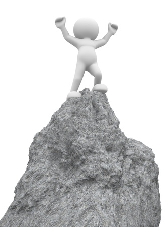 3d people - human character ,  person on  top of the mountain - victorious .  3d render illustration Stock Illustration - 14802611