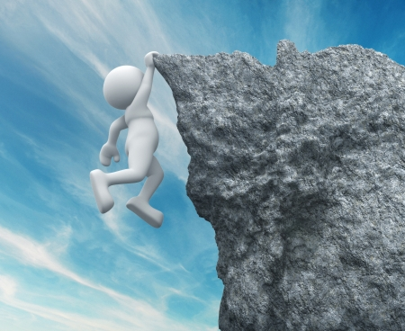 conquering: 3d people - human character ,  person hanging from a cliff .  3d render illustration Stock Photo