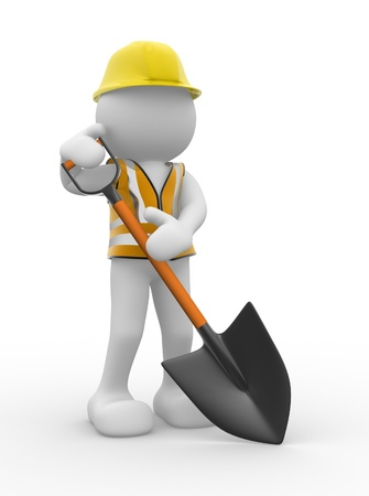 manual job: 3d people - human caracter ,  person  with a shovel.  3d render illustration