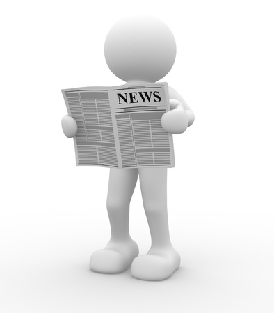 reading news: 3d people - human character, reading newspaper . This is a 3d render illustration