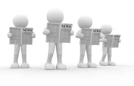 3d les gens - caractère humain, lisant le journal. C'est une illustration de rendu 3d