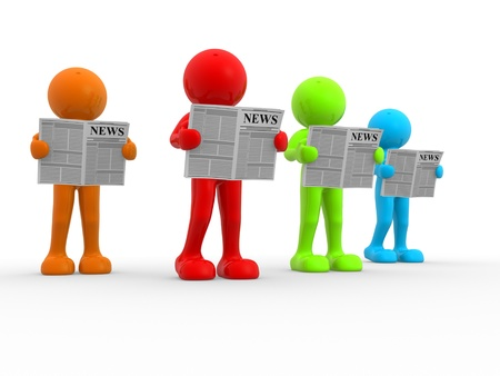 happenings: 3d people - human character, reading newspaper . This is a 3d render illustration