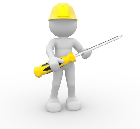 3d people - human character, construction worker with screwdriver. 3d render illustration  illustration