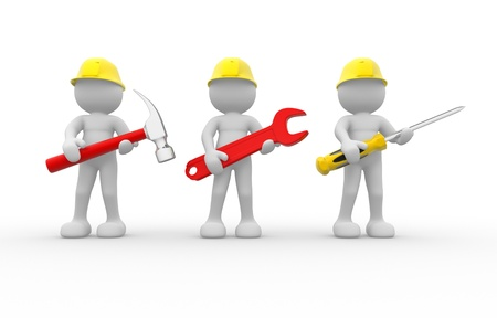 screwdrivers: 3d people - human character, team of construction workers with equipment.  3d render illustration  Stock Photo