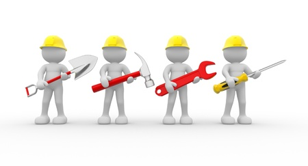 team building: 3d people - human character, team of construction workers with equipment.  3d render illustration  Stock Photo