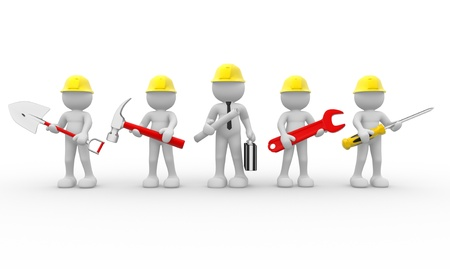repairmen: 3d people - human character, team of construction workers  and  construction engineer.  3d render illustration  Stock Photo