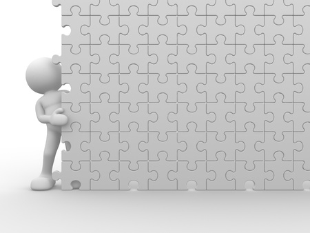 people puzzle: 3d people - human character and a wall of the puzzle - jigsaw. This is a 3d render illustration