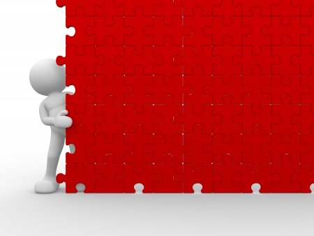 3d people - human character and a wall of the puzzle - jigsaw. This is a 3d render illustration illustration