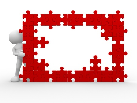 missing: 3d people - human character and a wall of the puzzle - jigsaw. This is a 3d render illustration