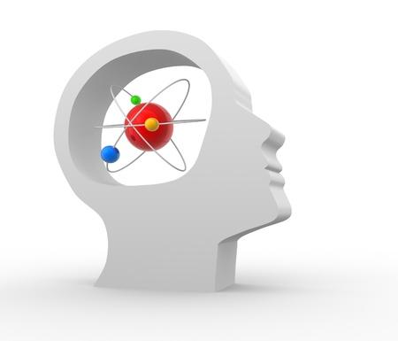 atomo: Cabeza humana con un �tomo. 3d hacer ilustraci�n