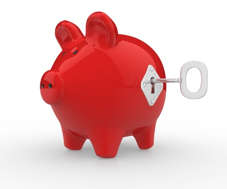 personal banking: Piggy bank closed with lock a key.  3d render illustration
