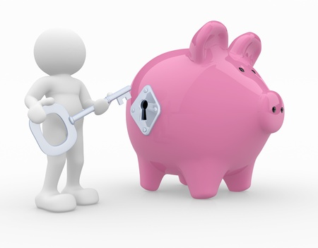 3d people- human character  with a key and a piggy bank. 3d render illustration illustration