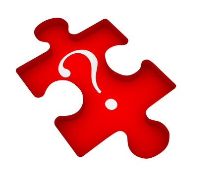 Question mark on jigsaw puzzle piece. 3d render illustration illustration