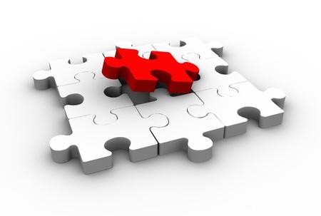 missing piece: Juego de puzzle con una pieza que falta. Jigsaw. esta es una ilustraci�n 3d Foto de archivo