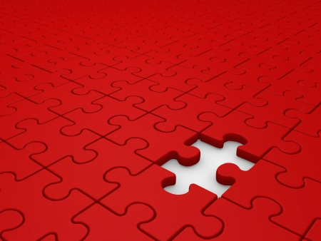 red puzzle piece: Puzzle game with a missing piece. Jigsaw. this is a 3d render illustration