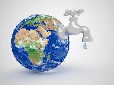 Earth globe and a tap - Consuming environment resources concept. 3d render illustration