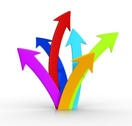 Colored arrows up grouped . Business success concept.  3d render illustration  illustration