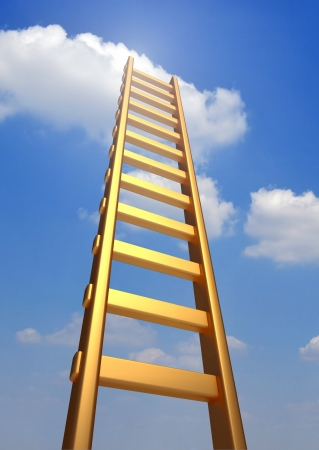 career icon: Ladder reaching into a blue sky and clouds .  3d render illustration