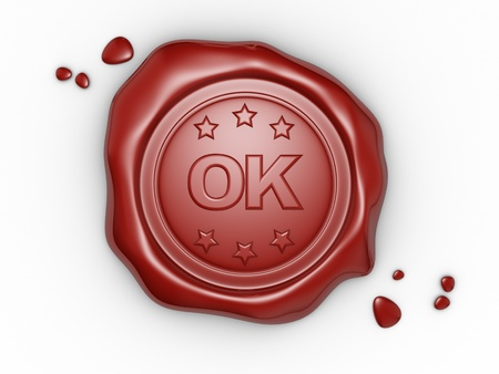 Confirmed. Wax seal with OKtext. 3d render illustration illustration