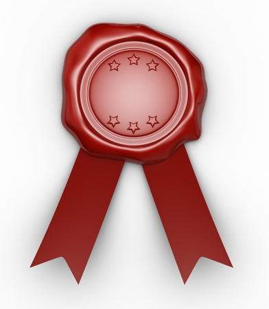 signatory: Wax seal  and  ribbon. This is a 3d render illustration