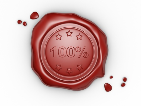 Wax seal 100% . This is a 3d render illustration illustration