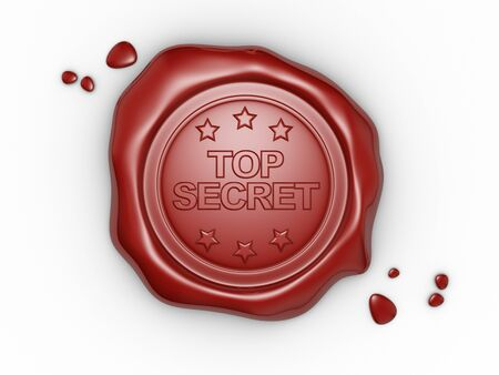 authorized: Wax seal with small stars and the word Top Secret. 3d render illustration