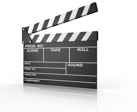 film production: A conceptual opened clapperboard. 3d render illustration