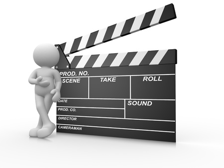 show time: 3d people -human character and a clapperboard. 3d render illustration