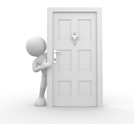 knock: 3d people - human charcacter and knocker on door  . 3d render illustration Stock Photo