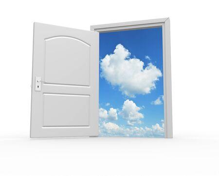 cielos abiertos: Una puerta abierta al cielo. 3d hacer ilustración Foto de archivo