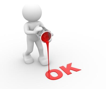 """coincidir: 3d gente carácter humano y la palabra """"OK"""" - Esta es una ilustración 3d"""