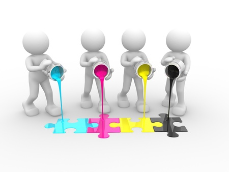 people puzzle: 3d people - human character and colorful puzzle(jigsaw). 3d render illustration