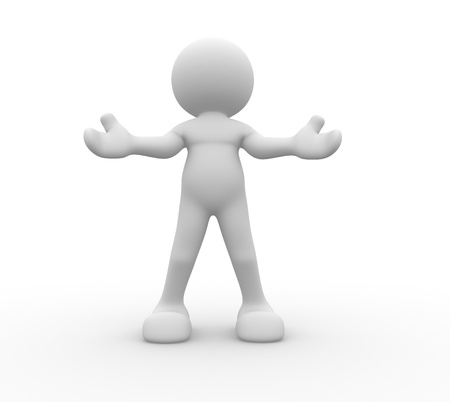 welcoming: 3d people - human character giving a hug. Welcome. 3d render illustration