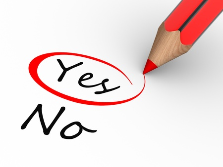 Choosing between yes and no. This is a 3d render illustration Stock Illustration - 14802303