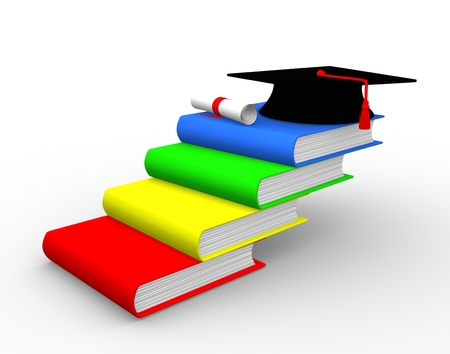 mortar board: Graduation cap on book stack ladder. 3d render  Stock Photo