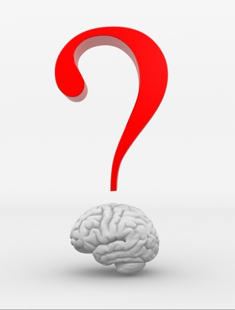 brain clipart: Human brain and a question mark. 3d render illustration