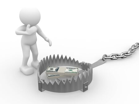 3d people - human character , person with a trap and pile of dollars. 3d render