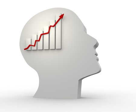 brainy:  Human head  and diagram of financial growth. 3d render