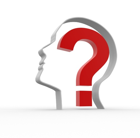 Human head with a question mark. 3d render illustration  Stock Illustration - 14799961