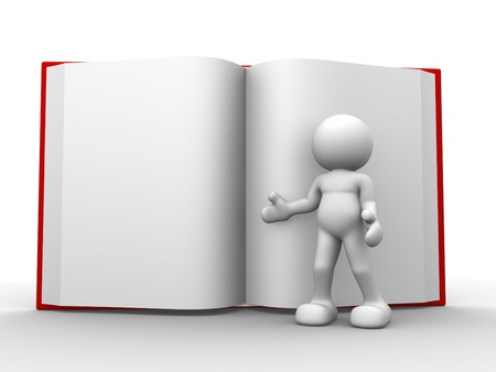 open file: 3d people - human character, person with a open book. 3d render