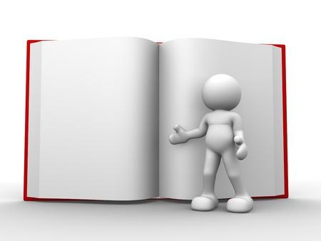 art book: La gente 3d - el car�cter humano, persona con un libro abierto. 3d