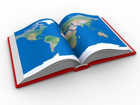 geografia: Un libro abierto con el mapa del mundo. 3d