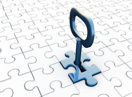 Jigsaw (puzzel) en toets sleutelgat. 3d render illustratie