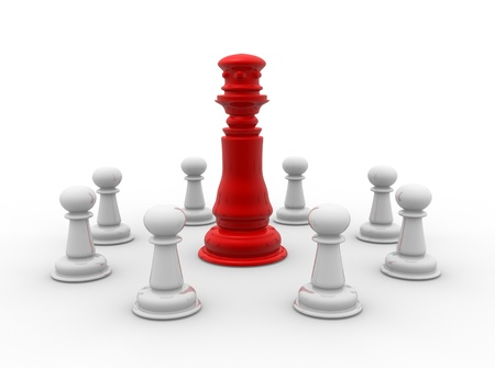 Chess pieces: king and pawns . 3d render photo