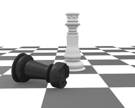 competitors: King and rook on a chessboard. 3d render